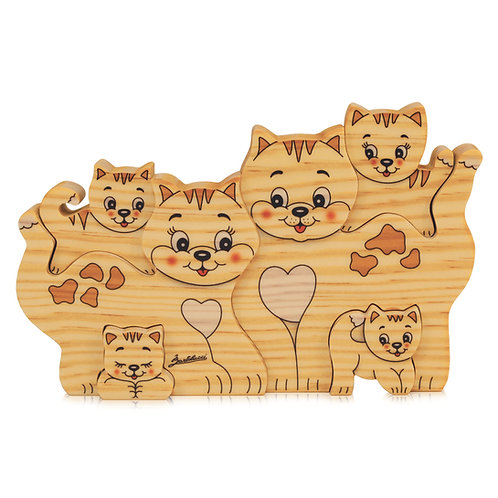 Houten puzzels Familie Poes