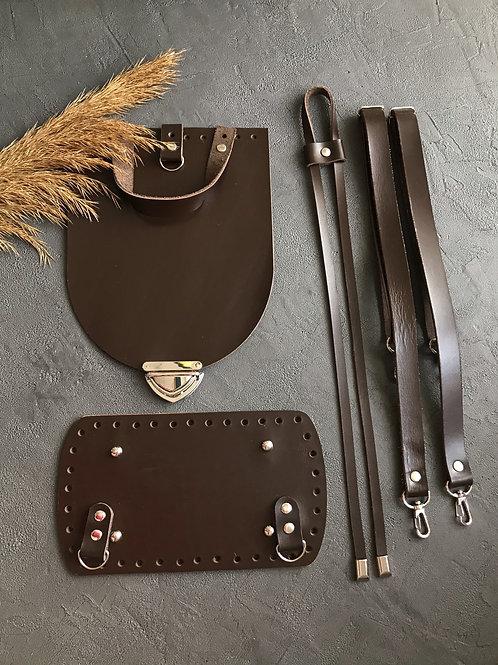 Набор для рюкзака с овальным клапаном из натуральной кожи, цвет - тёмный шоколад