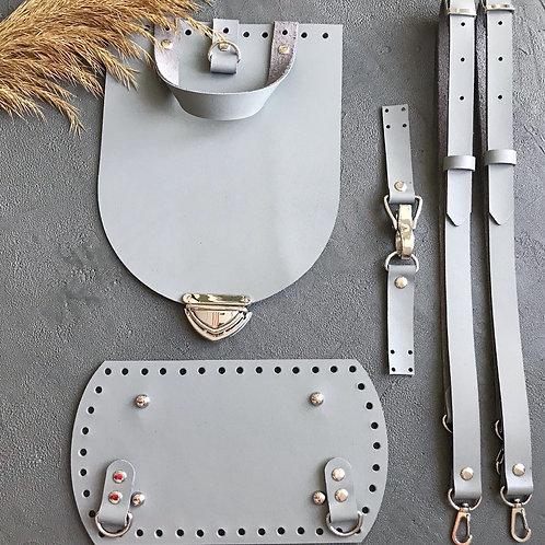 Набор для рюкзака с овальным клапаном из натуральной кожи, цвет - светло-серый