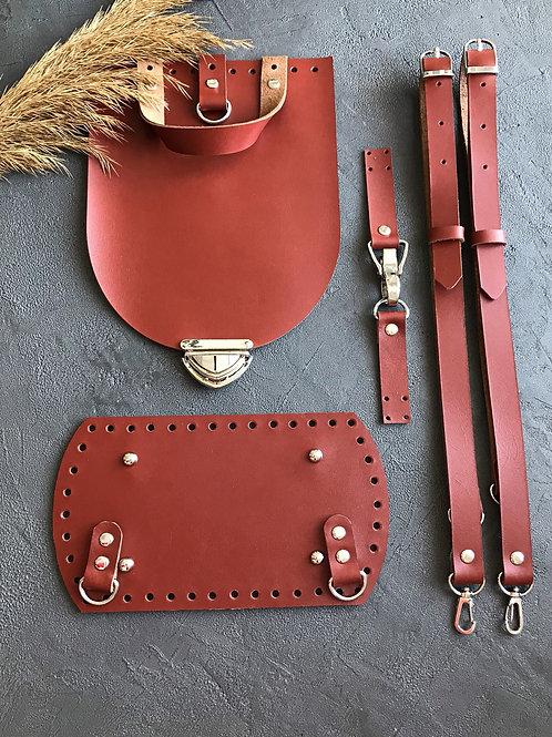 Набор для рюкзака с овальным клапаном из натуральной кожи, цвет - коньяк
