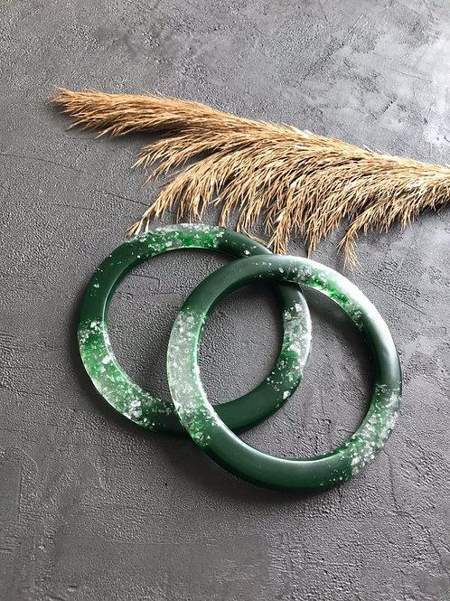 Ручки из эпоксидной смолы ручной работы (пара), круг, зеленый/серебро