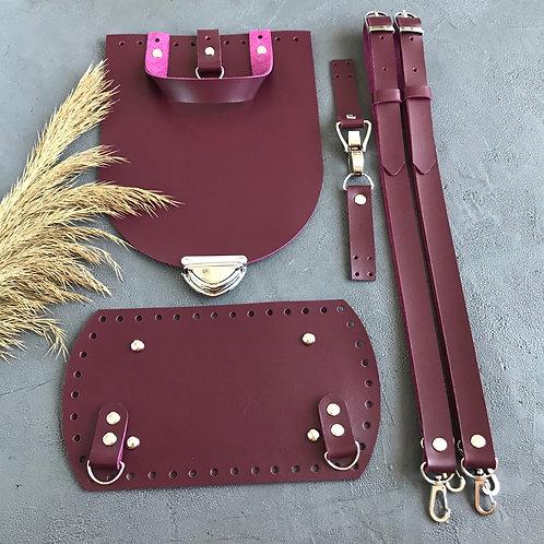 Набор для рюкзака с овальным клапаном из натуральной кожи, цвет - винный