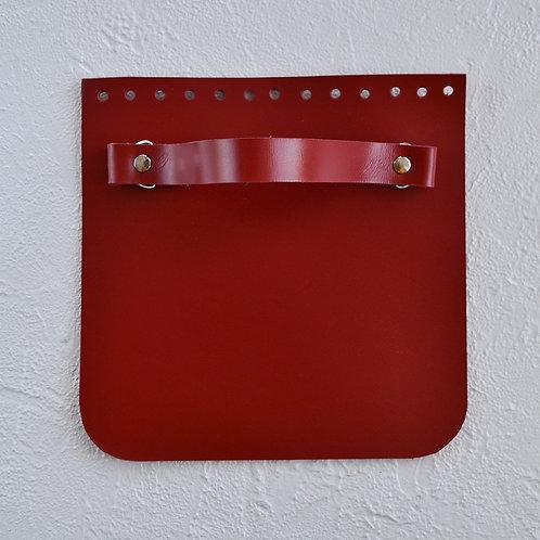 Кожаный клапан прямоугольный (красный)