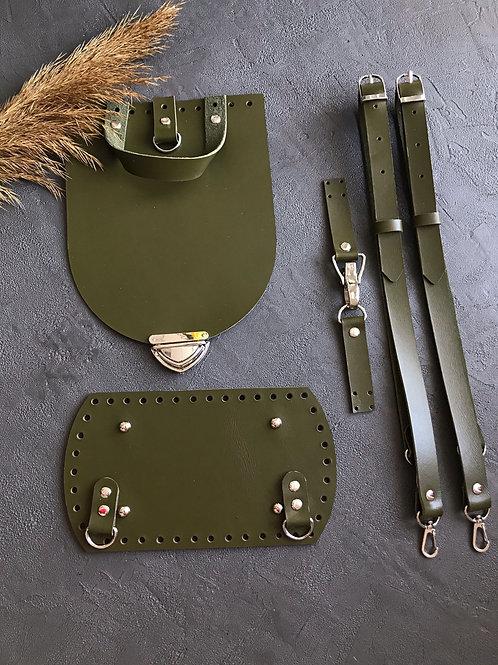 Набор для рюкзака с овальным клапаном из натуральной кожи, цвет - хаки