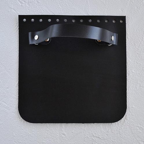 Кожаный клапан прямоугольный (чёрный)