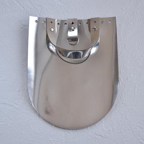 Кожаный клапан для рюкзака (зеркальное серебро)