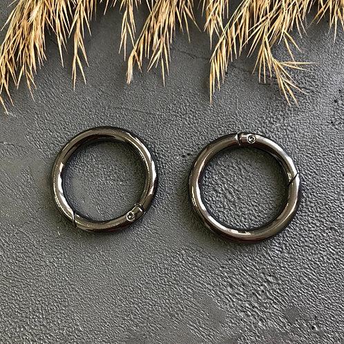 Кольцо-карабин тёмный никель