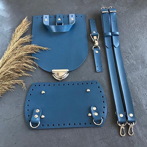 Набор для рюкзака из натуральной кожи, цвет - джинс