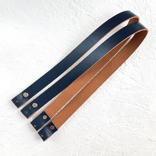 Кожаные ручки на винтах 60см синий/коричневый