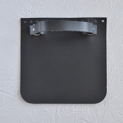 Кожаный клапан прямоугольный (серый)