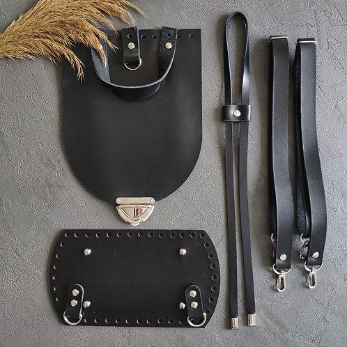 Набор для рюкзака с овальным клапаном из натуральной кожи, цвет - чёрный