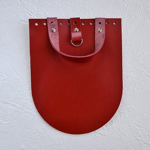 Кожаный клапан для рюкзака (красный)