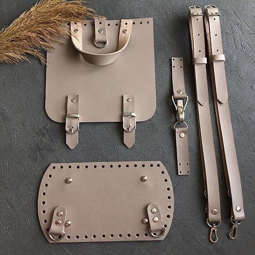 Набор для рюкзака с квадратным клапаном из натуральной кожи, цвет - капучино
