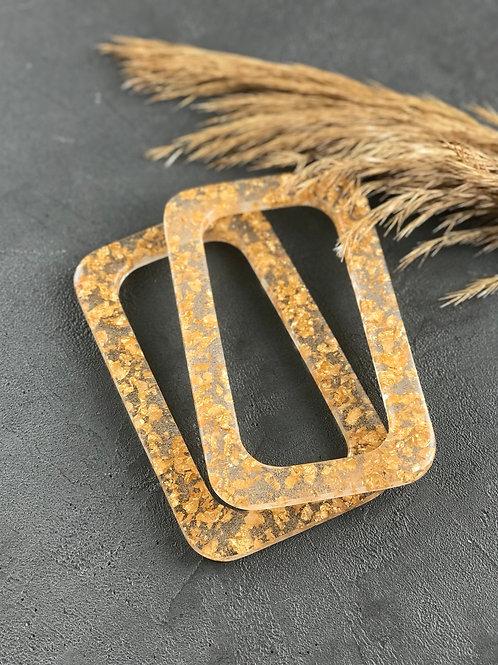 Ручки из эпоксидной смолы ручной работы (пара), прямоугольные, прозрачные/золото