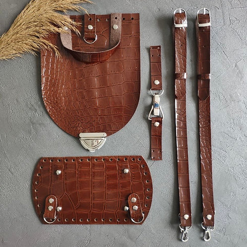 Набор для рюкзака с овальным клапаном из натуральной кожи, цвет - репт. оливка