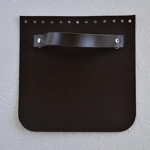 Кожаный клапан прямоугольный (тёмно-коричневый)