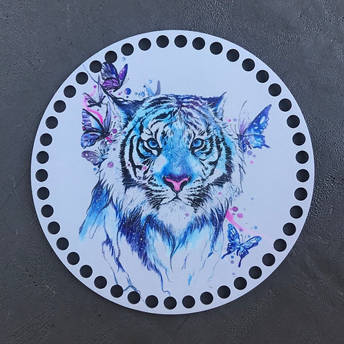 Крышка для корзины 20см Тигр и бабочки акварель