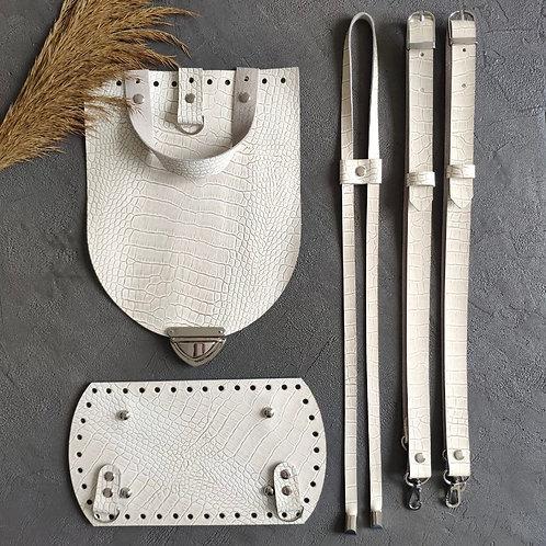 Набор для рюкзака с овальным клапаном из натуральной кожи, цвет - репт.молочный