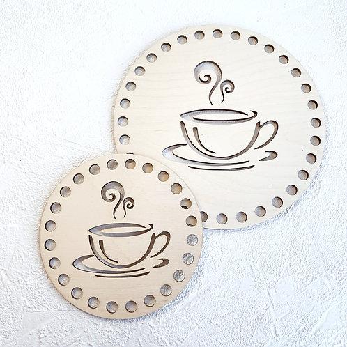 """Крышка для корзины, подставка под чашки (круг """"Чашка кофе"""")"""