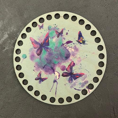 Крышка для корзины 15см бабочки акварель