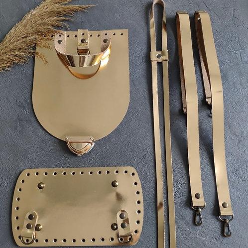Набор для рюкзака с овальным клапаном из натуральной кожи, цвет - золото
