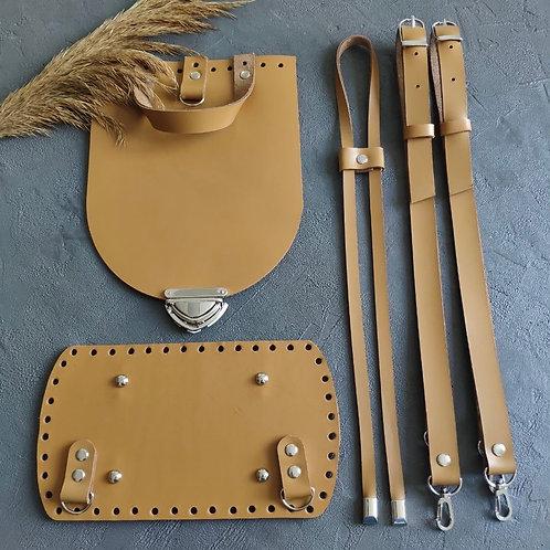 Набор для рюкзака с овальным клапаном из натуральной кожи, цвет - горчица