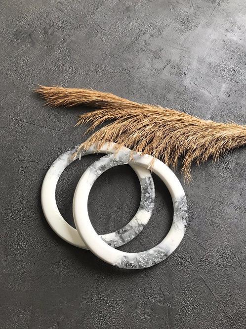 Ручки из эпоксидной смолы ручной работы (пара), круг, белый/серебро