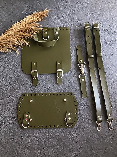 Набор для рюкзака с квадратным клапаном из натуральной кожи, цвет - хаки