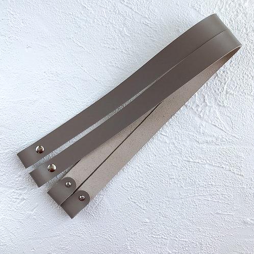Кожаные ручки на винтах 60см серые
