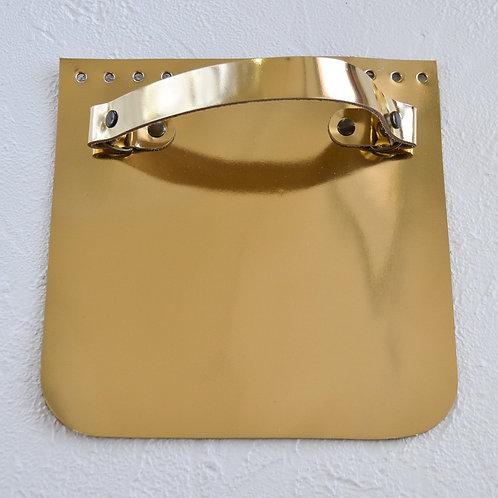 Кожаный клапан прямоугольный (зеркальное золото)