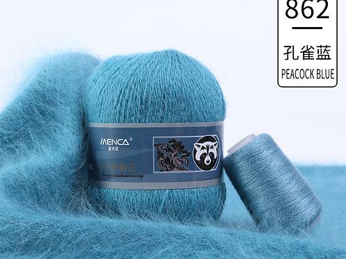 Пух НОРКИ 862 голубой павлиний хвост