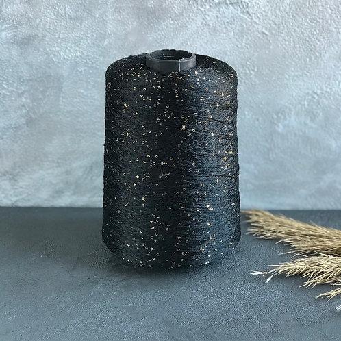 Paillettes (100% полиамид с пайетками) чёрный с золотыми пайетками