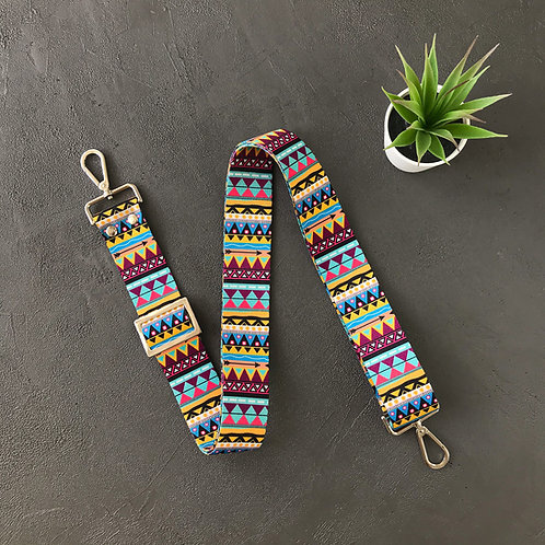 Гитарный ремень (текстиль узоры, цветные мини треугольники)