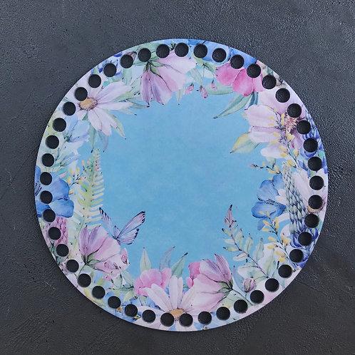 Крышка для корзины 20см Венок «Цветы и бабочки»