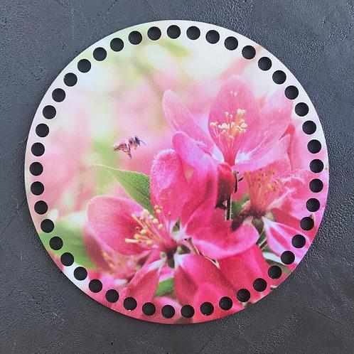 Крышка для корзины 20см цветы и пчёлка