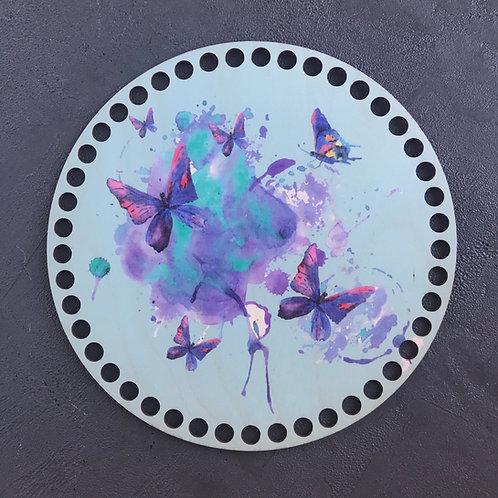 Крышка для корзины 20см Бабочки акварель