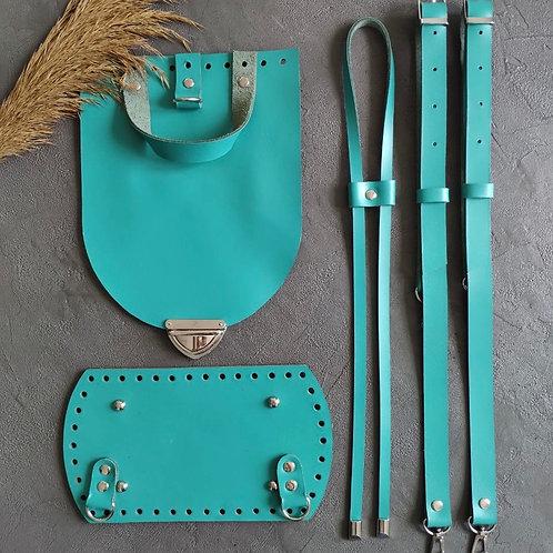 Набор для рюкзака с овальным клапаном из натуральной кожи, цвет - бирюзовый