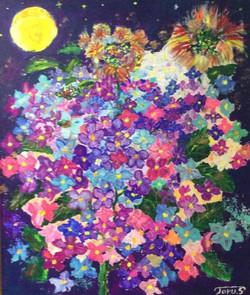 夜に咲く紫陽花
