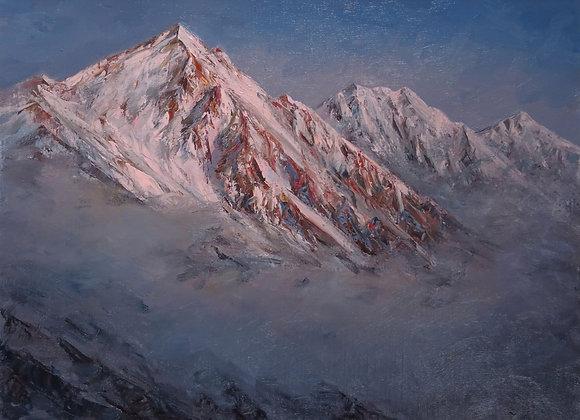 朝焼けの白馬三山