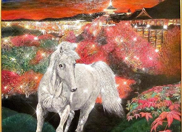 駿馬.紅葉を駆ける