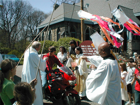 """I will cause you to ride in the high places....""  The Blessing of the Bikes, Easter Season 2004"