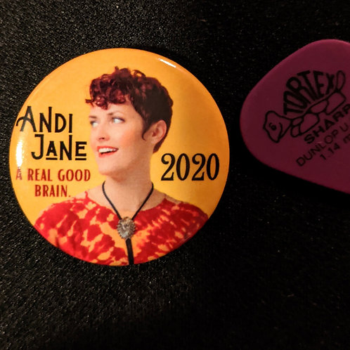 "Andi Jane""A Real Good Brain"" campaign button"