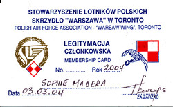 Zosia's SPK membership card