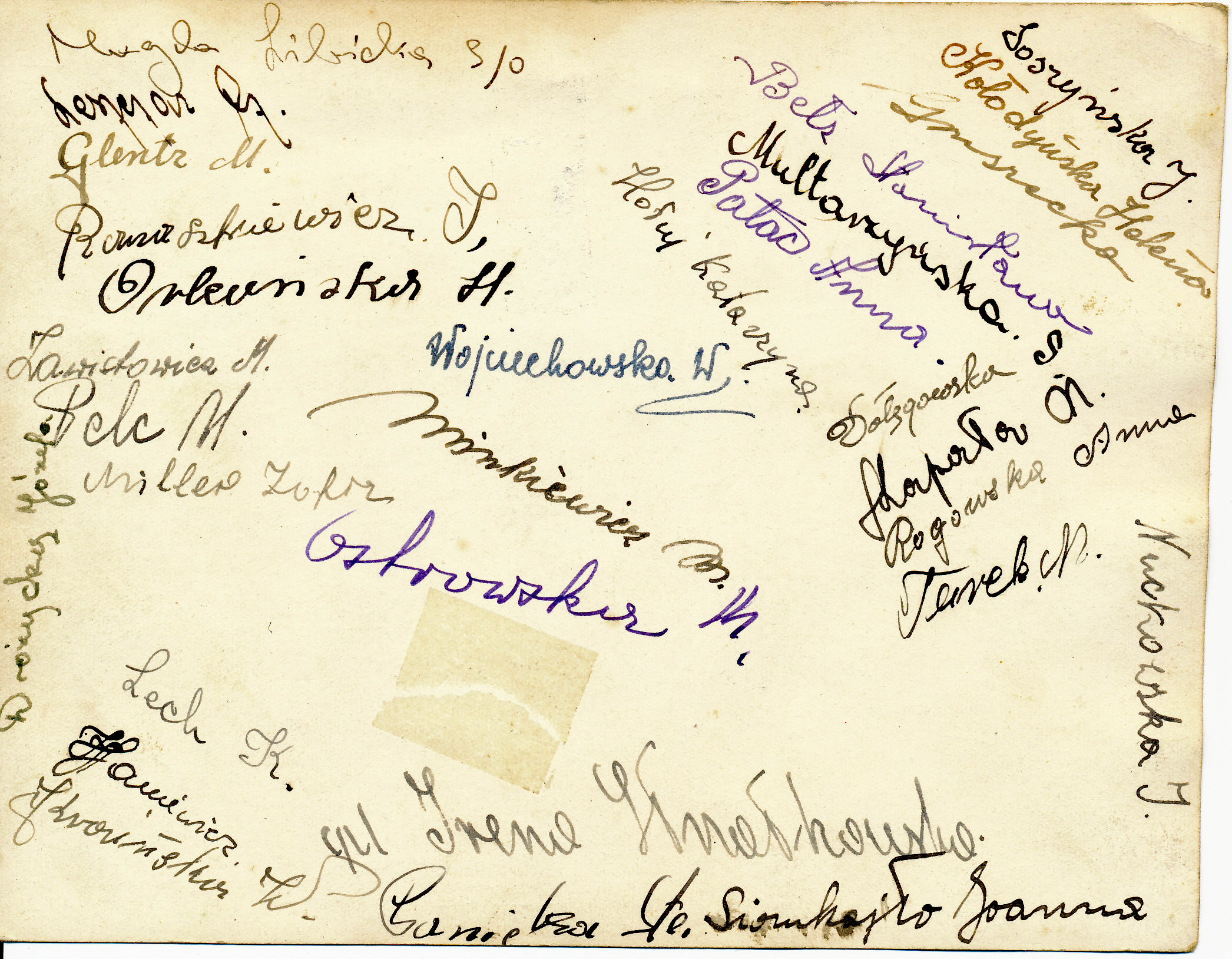Signatures on back of previous photo