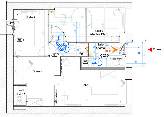 Plan d'aménagement d'un local ERP.