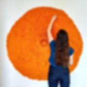 """Elegant Sunburst, 1"" with artist, Molly Gambardella, 60 x 60 x 8 in; 153 x 153 x 20 cm  February,2019  (sold)"