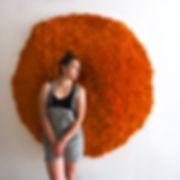Sunburst Lichen, original, 60 x 60 x 8 in; 153 x 153 x 20 cm  July 2018with artist, Molly Gambardella, (sold)
