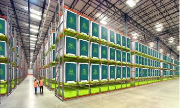 Render InvertiGro InvertiCube indoor vertical farm warehouse