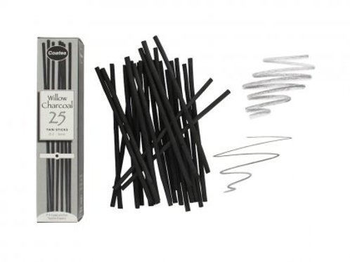 WCT Coates Artist Willow Charcoal - Thin (25 sticks)