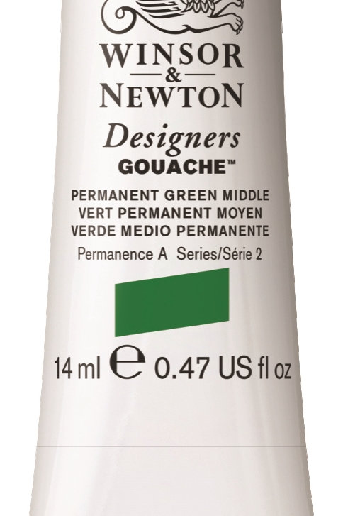 484 W&N Designers' Gouache 14ml - Permanent Green Middle
